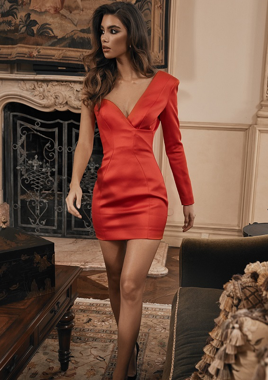 Mina Red Satin One Sleeve