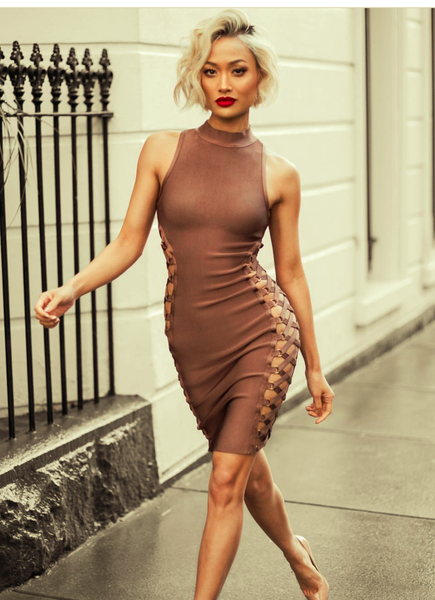 Sexy Lace Up Bandage Bodycon Dress