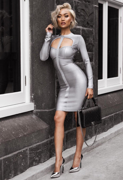 Blue Bandage Bodycon Dress