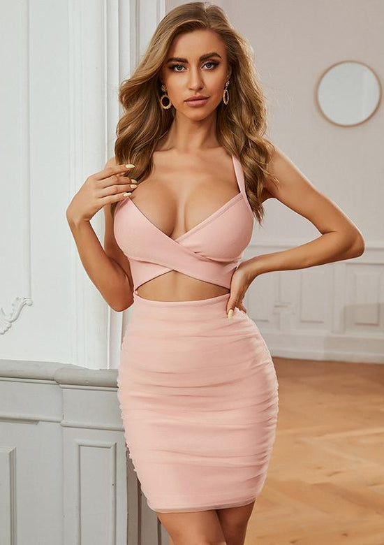 Peach Cut Out Mini Dress