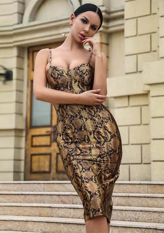 Charlotte Gold Snakeskin Midi Dress