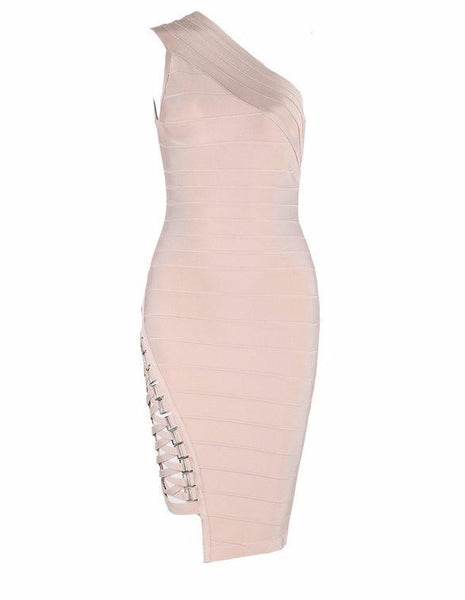 Nude Bodycon Studded Bandage Dress | Fashion Miami Styles