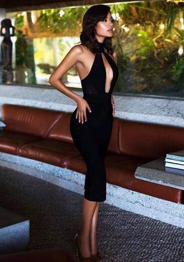 Alejandra Black Hulter Backless Bandage Dress