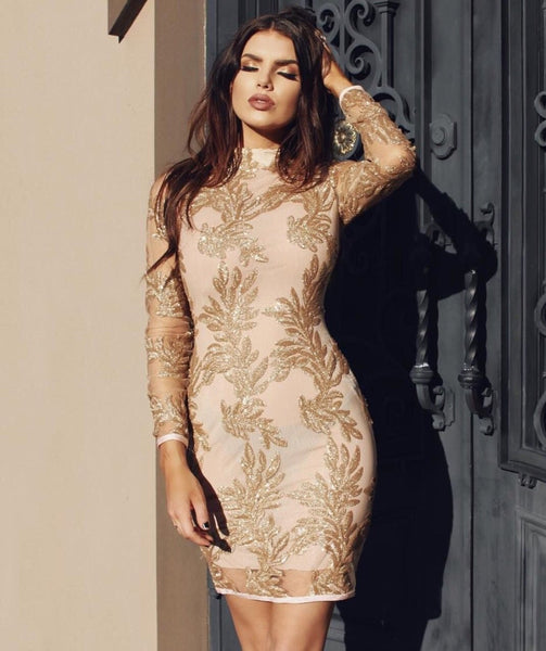 Astrae Luxury Gold Sexy Dress | Fashion Miami Styles