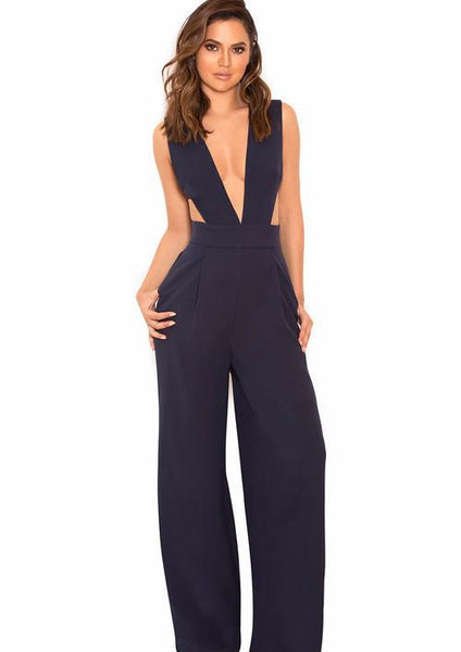 NAVY CUT OUT Bandage Jumpsuit | Fashion Miami Styles