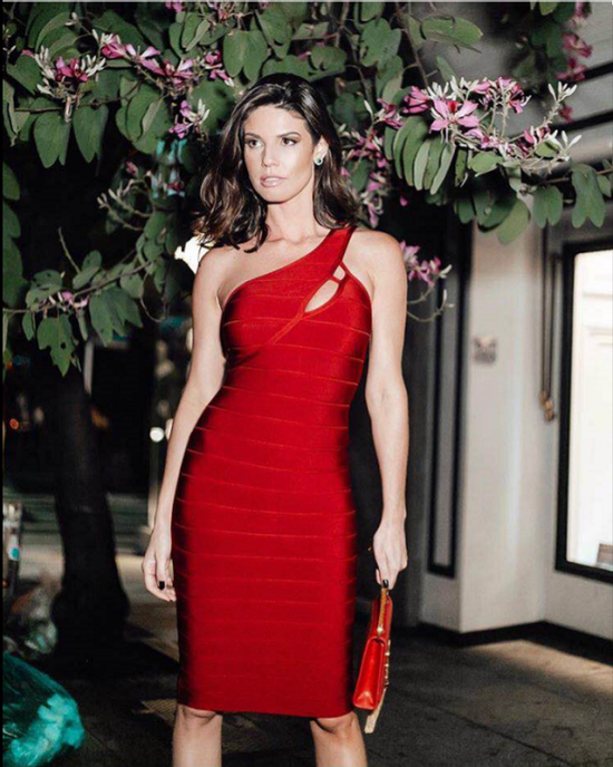 Tessa One Shoulder Red Bandage Dress
