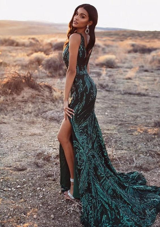 Emerald Green Sequined Dress
