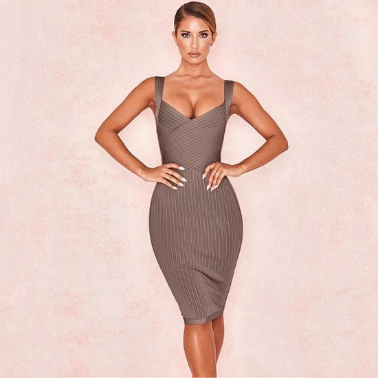 Marissa Brown Midi Bandage Dress