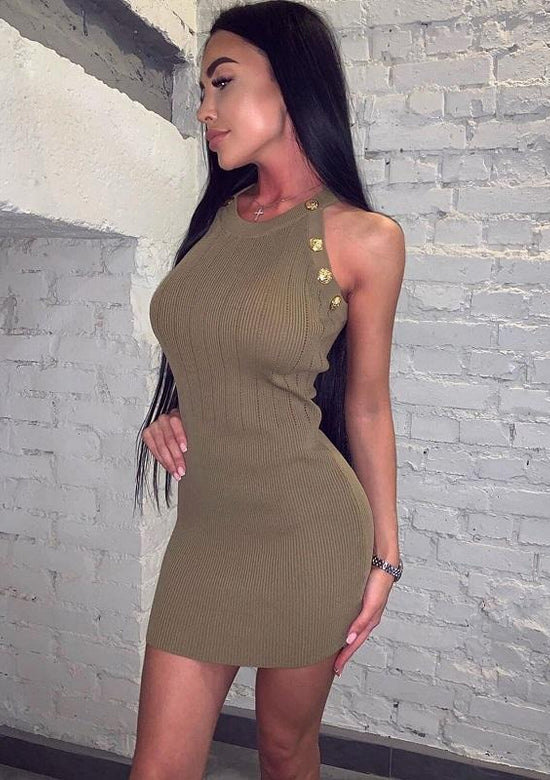 Gwen Mini Dress In Green And Beige