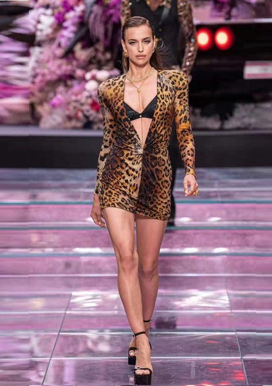 Leopard V-Neck Catwalk Dress