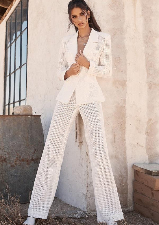 White Mesh Two Piece Pant Set