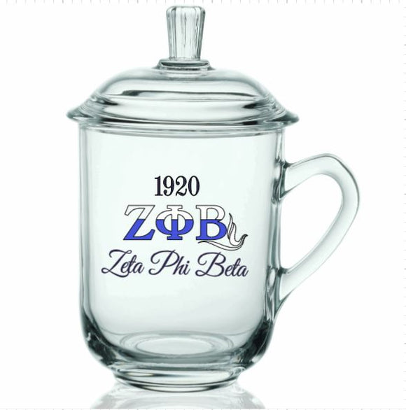 BAB - Tea/Coffee Drinking Glass with Lids (Sorority)