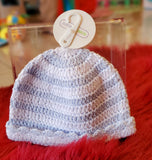 Shoe-Crochet Hat Wht/Blue NB