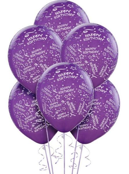 Balloon Bday Purple 6pk