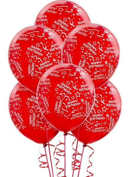 Balloon Bday Conf Red 6pk