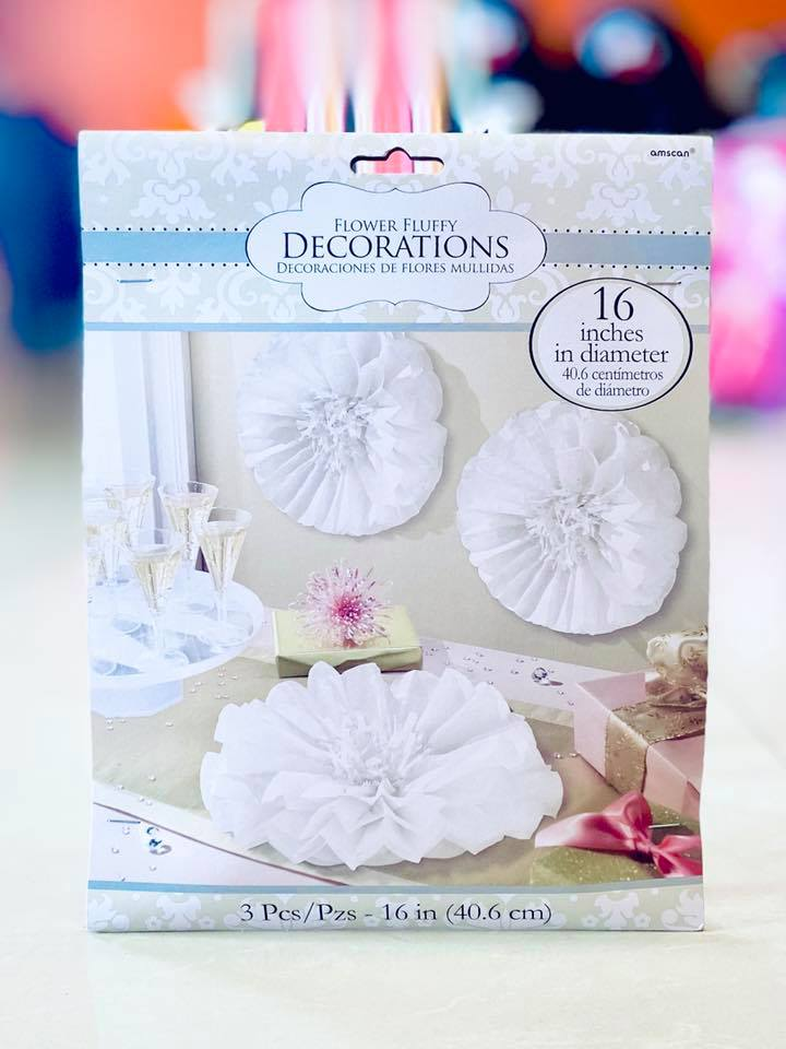 Flower Fluffy Deco Paper Wht