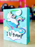 Gift Bag Unicorn 3D 12.5x12.5""