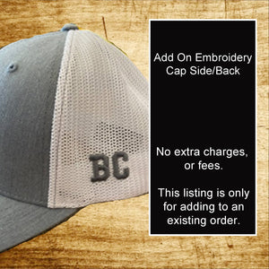 Add on Embroidery - Cap Side or Back