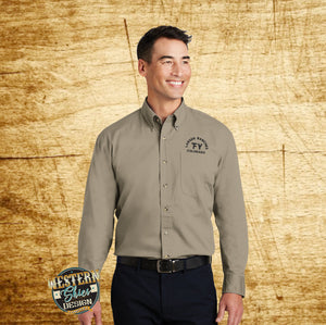 Custom Branded Woven Button Up Shirt - Livestock Brand - Farm and Ranch Logo - Personalized Sweatshirt - Custom Logo Apparel - Ranch Wear