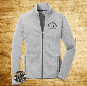 Custom Branded Women's Sweater Jacket-Livestock Brand-Farm and Ranch Logo-Personalized-Ranchwear-Outerwear