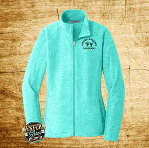 Custom Embroidered Women's Heather Microfleece Jacket-Livestock Brand-Farm and Ranch Logo-Personalized-Ranchwear-Outerwear