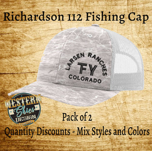 Richardson 112 Fishing Hat - Custom Embroidered Trucker Hat -Snapback - Livestock Brand Personalized- Farm and Ranch Custom Cap - Men's Hat