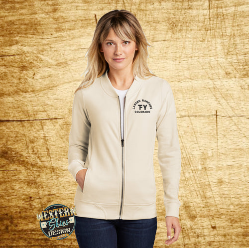 Custom Embroidered Women's French Terry Jacket-Livestock Brand-Farm and Ranch Logo-Personalized-Ranchwear-Outerwear