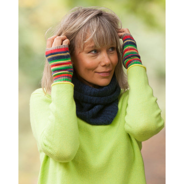 Pure Cashmere Stripe Handwarmers - Kitted in Cashmere