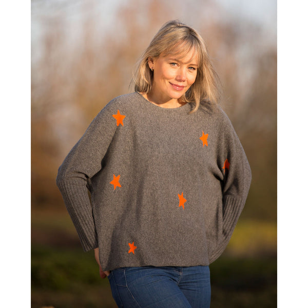 Original Stars Intarsia Crew Neck with Rib Cuffs - Kitted in Cashmere