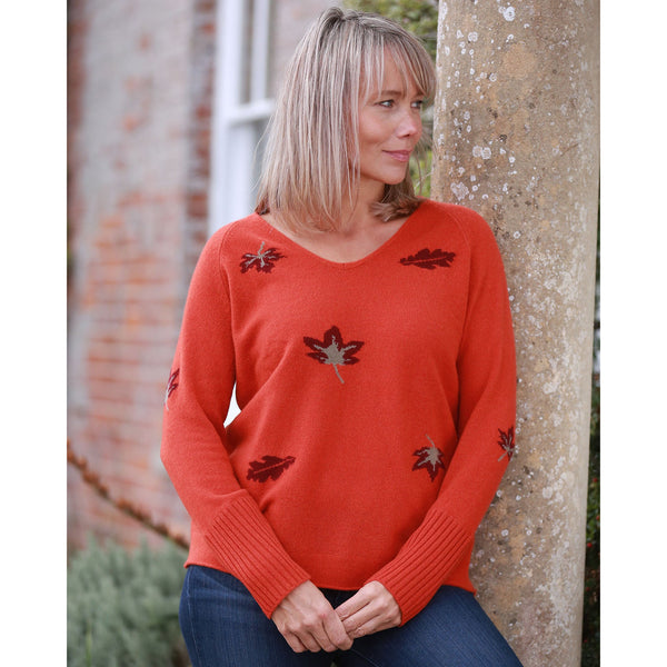 Leaves Vee Neck with Rib Cuffs - Kitted in Cashmere