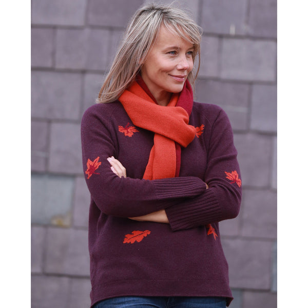 NEW Leaves Vee Neck with Rib Cuffs - Kitted in Cashmere