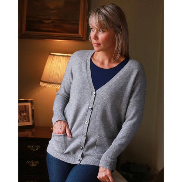NEW Classic Vee Neck Cardigan - Kitted in Cashmere