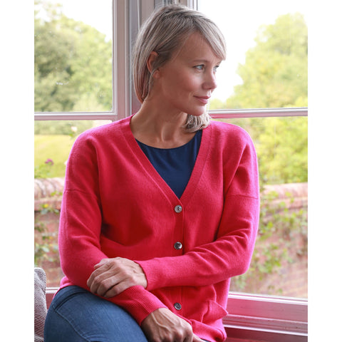 Classic Vee Neck Cardigan - Kitted in Cashmere