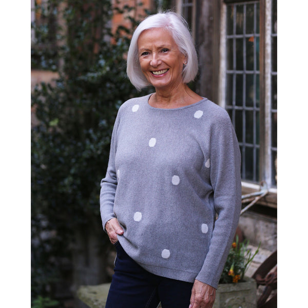 Spotty Intarsia Crew Neck - Kitted in Cashmere