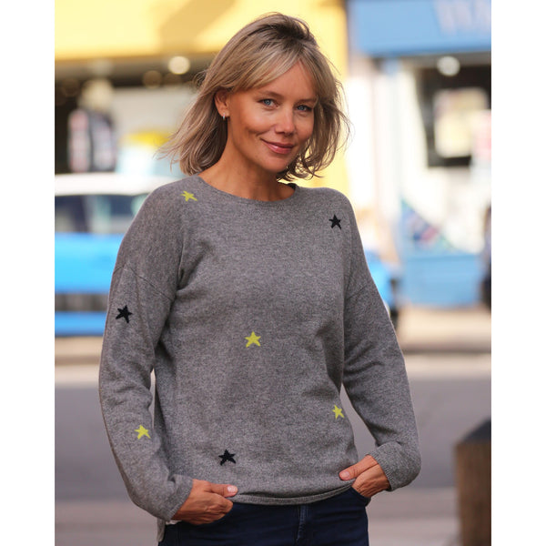 The Mini Stars Intarsia Crew Neck - Kitted in Cashmere