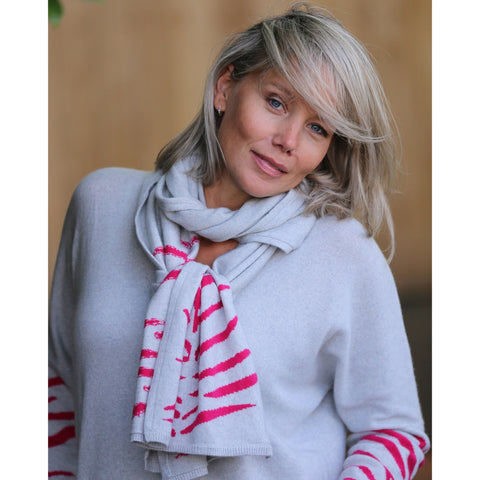 The Tiger Stripe Scarf - Kitted in Cashmere