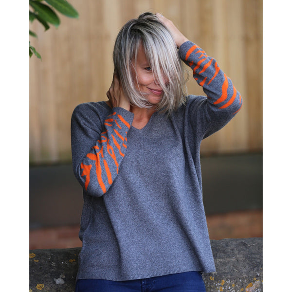 The Tiger Striped Sleeve Vee Neck - Kitted in Cashmere