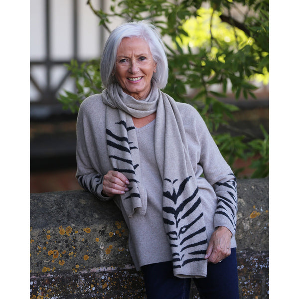 Kitted in Cashmere - Tiger Striped Scarf
