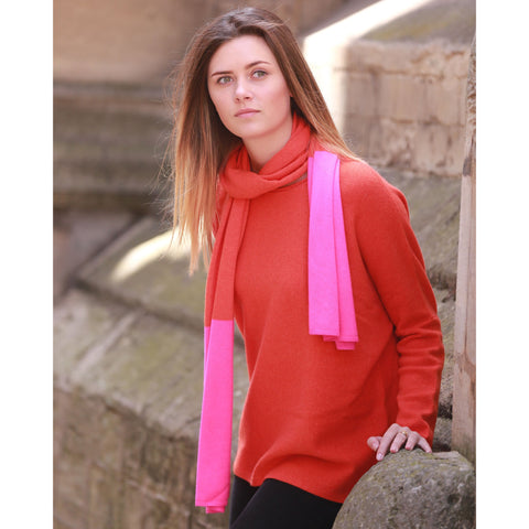 Pure Italian Cashmere Contrast End Scarf