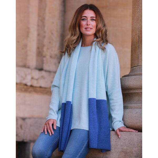 Pure Italian Cashmere Contrast End Scarf - Kitted in Cashmere