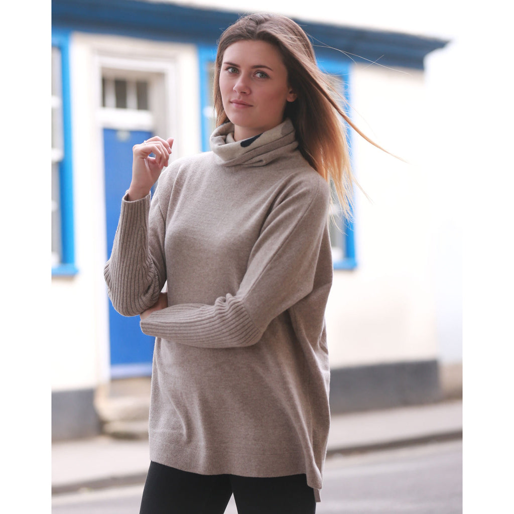 The Camouflage Intarsia Roll Neck - Kitted in Cashmere