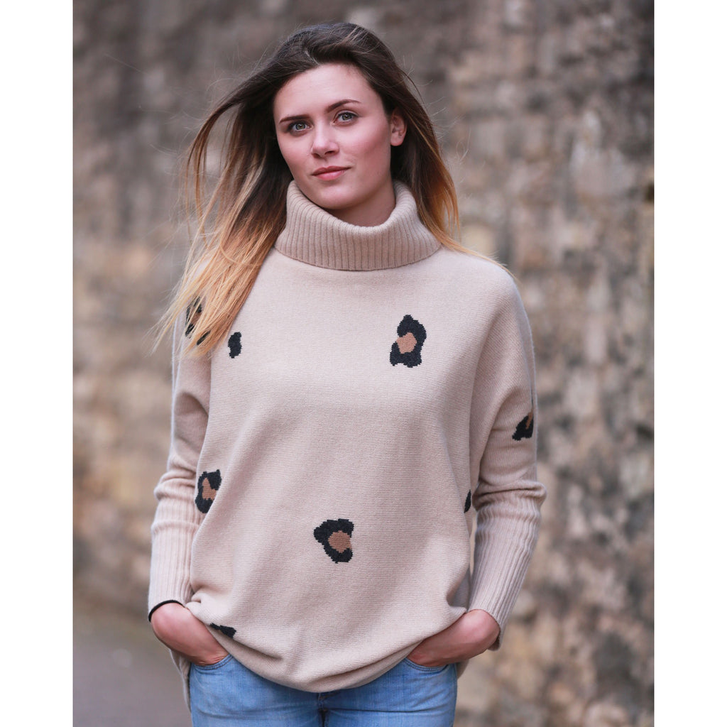 The Original Leopard Intarsia Roll Neck with Rib Cuffs - Kitted in Cashmere