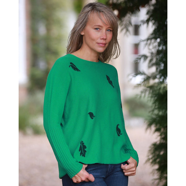 Original Leaves Crew Neck with Rib Cuffs - Kitted in Cashmere
