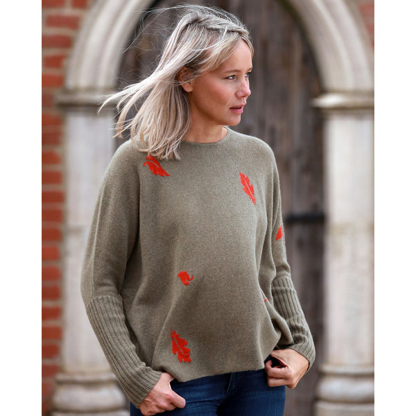 NEW Original Leaves Crew Neck with Rib Cuffs - Kitted in Cashmere