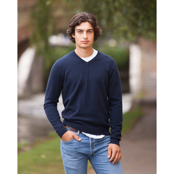 NEW Men's Cashmere Vee Neck - Kitted in Cashmere
