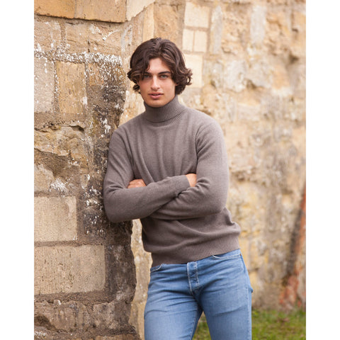 Men's Cashmere Stretch Roll Neck - Kitted in Cashmere