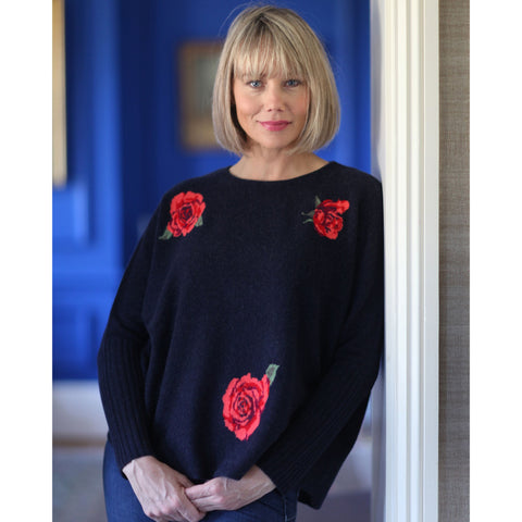 NEW IN The Original Roses Intarsia Crew Neck with Rib Cuffs - Kitted in Cashmere