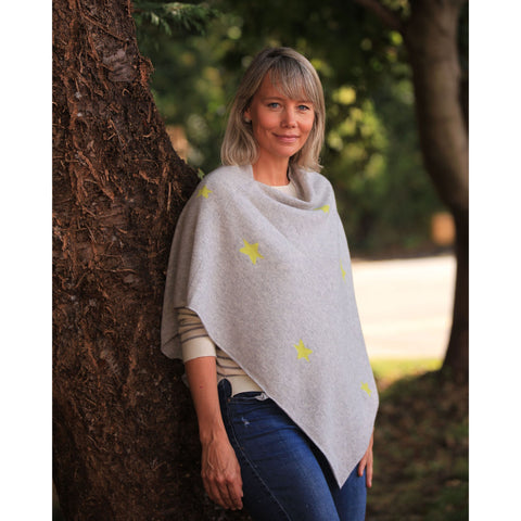 The Original Star Intarsia Poncho - Kitted in Cashmere