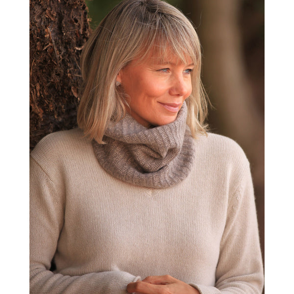 Pure Cashmere Rib Snood - Kitted in Cashmere