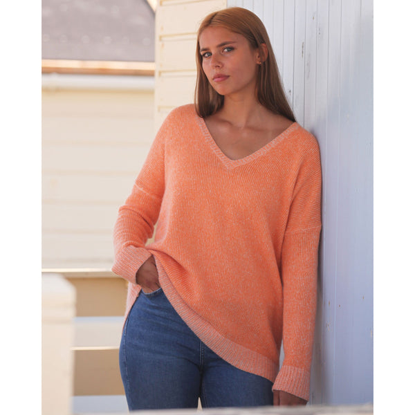 The Holkham Pure Cashmere Colour Twist Vee - Kitted in Cashmere